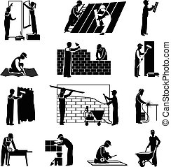 Worker Icons Black - Professional construction workers...
