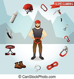Mountain climber character icons composition poster -...
