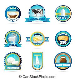 Eco farm milk dairy products labels - Eco friendly farm...