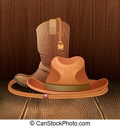 Cowboy symbol poster - Cowboy hat boots and lasso on wooden...