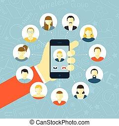 Social Network Concept - Social network concept with hand...
