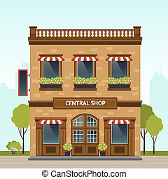 Shop Facade Illustration - Brick building retro style shop...
