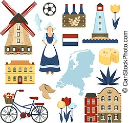Netherlands Symbols Set - Netherlands symbols set with...