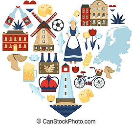 Netherlands Heart Concept - Netherlands travel symbols and...
