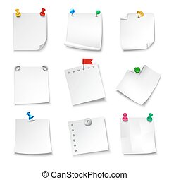 Note Papers Blank - Blank note papers pinned with pushpins...