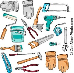 Painter working tools icons set color
