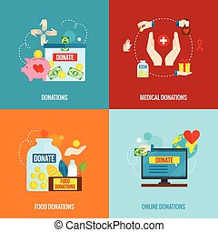 Charity Flat Set - Charity design concept set with food and...