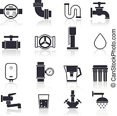 Water Supply Icons Black - Water supply icons black set with...