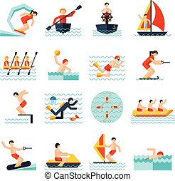 Water Sports Icons Set - Water sports flat icons set with...