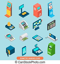 Isometric Banking Icons Set - Isometric banking icons set...