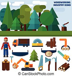 Woodworking Industry Icons - Woodworking industry decorative...
