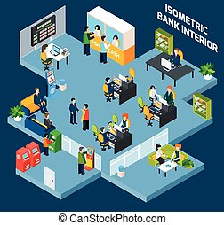 Bank Interior Isometric - Bank interior isometric with 3d...