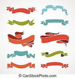 full color set of vintage ribbons vector illustration