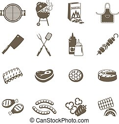 Barbecue And Grill Icons Black Set