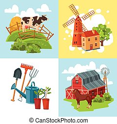Farm design flat concept set with cow and haystack windmill...