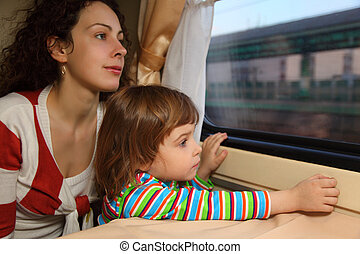 mother and daughter look in train`s window