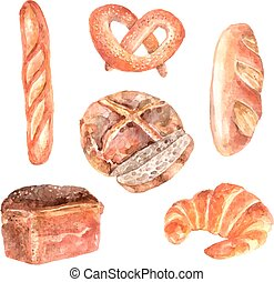 Fresh bread watercolor icons set - Fresh breads bakery...