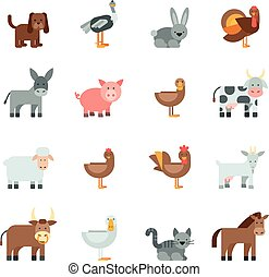 Domestic Animal Flat Icons Set - Domestic animal flat icons...