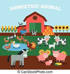 Domestic Animals Concept - Farm livestock concept with flat...