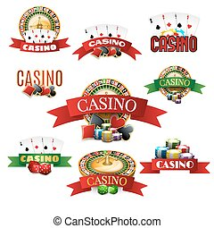 Casino emblems set - Casino with cards roulette chips and...