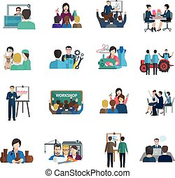 Workshop Flat Icons Set - Workshop flat icons set with...