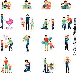 Fatherhood Flat Icons - Fatherhood flat icons set with...