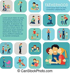 Fatherhood Flat Icons Set - Fatherhood sport and leisure...