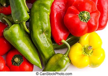Bunch of different peppers, red, green and red isolated on...