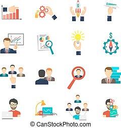Business Icon Flat Set - Business icon flat set with charts...
