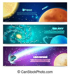 Cosmos galaxy banners set - Cosmos space galaxy astronomical...