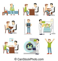 Doctor And Patient Set - consulting practitioner doctor and...
