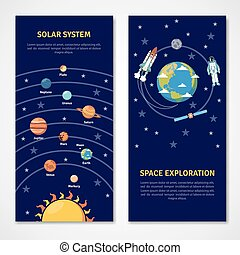 Solar system and space exploration banners - Solar system...