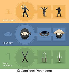 Ninja Banners Set - Ninja horizontal banners set with suit...