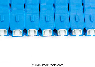 blue fiber optic SC connectors with reflection isolated on...