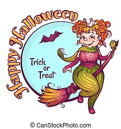 Invitation to Halloween party with fun witch on a broom