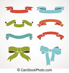 full color set of vintage ribbons vector illustration