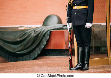 Post honor guard at the Eternal Flame in Moscow at the Tomb of t