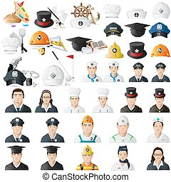 Icon set for different professions jumbo collection