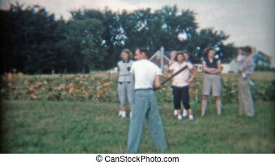 1948: Family pickup baseball game - Original vintage 8mm...