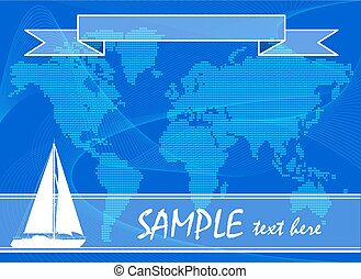 Blue travel background with yacht. - Blue travel background...