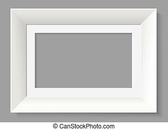 White frame isolated on grey background.