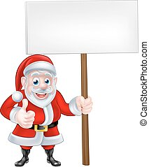 Santa Holding Sign - A Christmas cartoon illustration of...