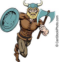 Viking Axe Warrior - An illustration of a tough looking...
