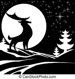 hiver, cerf, Illustration,