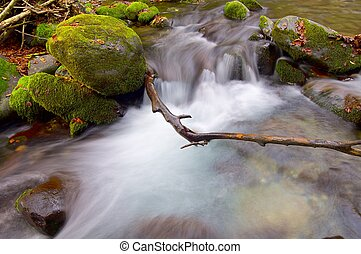 Creek - silky stream in a forest in autumn in the valley of...