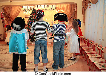 Children on New Years holiday in kindergarten