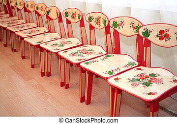 Childrens chairs in kindergarten