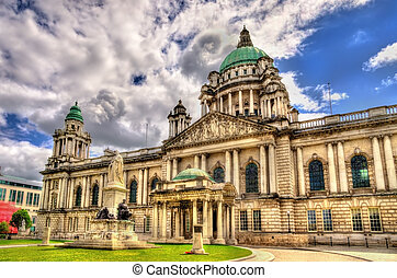Queen Victoria Memorial and Belfast City Hall - Northern...