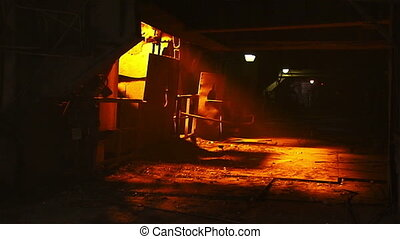 Ferrous metallurgy - Molten metal melted in furnace at...