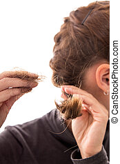 young woman with alopecia, isolated on white, concept hair...